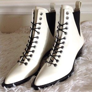 Coach Spazzolato Leather Lace-Up Booties